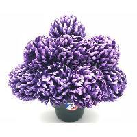 Fleur-plante Artificielle - Fleur Sechee UNE FLEUR EN SOIE Pot de chrysanthemes boules mauve fonce - 36 cm