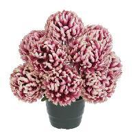 Fleur-plante Artificielle - Fleur Sechee UNE FLEUR EN SOIE Pot de chrysanthemes boules vieux rose - 36 cm