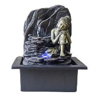 Fontaine Interieure ZEN'LIGHT Fontaine d'interieur Saoun - Fontaine Bouddha - Deco Feng Shui - Eclairage LED - Grise
