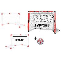 Football CDTS But de Foot 2 en 1 avec Filet + Ballon de Foot Taille 5 - Cage de foot 120 x 70 cm