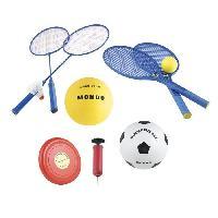 Football MONDO - Set Multisport Jeux de plage 5 en 1 (Badminton. Tennis. Volley. Football. Freesbee)