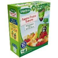 Franprix - Desserts Aux Fruits 4 gourdes de puree de fruits - Pomme. fraise et banane - Des 10 mois - 4 x 90 g