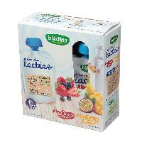 Franprix - Desserts Lactes BLEDINA Gourdes lactées 2x fruits rouges / 2x fruits exotiques - 4x85 g - Des 10 a 36 mois