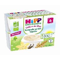 Franprix - Desserts Lactes Bio Coupelles Semoule lait Vanille 4x100g 6m+