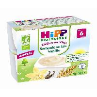 Franprix - Desserts Lactes HIPP BIOLOGIQUE Délices de Lait Semoule au lait Vanille - 4x100 g - Des 6 mois