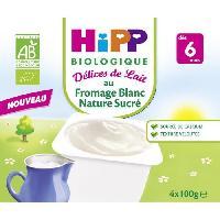 Franprix - Desserts Lactes HIPP BIOLOGIQUE Délices de lait au Fromage blanc nature sucré - 4x100g - Des 6 mois