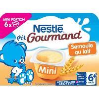 Franprix - Gouter Et Desserts 6 mini pots de semoule au lait P'tit Gourmand - Des 6 mois - 6 x 60g