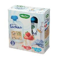 Franprix - Gouter Et Desserts Gourdes lactees 2x fraise 2x nature sucre - 4 x 85g