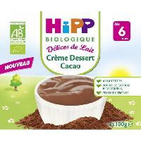 Franprix - Gouter Et Desserts HIPP BIOLOGIQUE Délices de lait Creme dessert cacao - 4x100 g - Des 6 mois