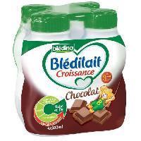 Franprix - Lait Et Cereales BLEDINA Bledilait Croissance Chocolat 3eme âge - 4x500 ml - De 10 mois a 3 ans