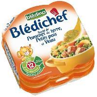 Franprix - Repas De Bebe Assiettes Bledichef Petit pois. Veau. Pommes de terre 2x230g