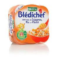 Franprix - Repas De Bebe BLEDINA. Bledichef Meli-Melo de Legumes. Riz et Poulet 2x230 gr
