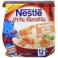 Franprix - Repas De Bebe Ptite Recette Blanquette de riz dinde - 2x200 g - Des 12 mois