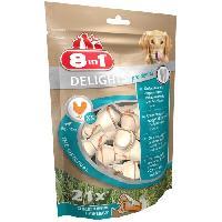 Friandise 8in1 Delights Dental XS Os de boeuf a macher chien petite taille - Longue duree - Limite le tartre - sans cereales Colorant - 21 os