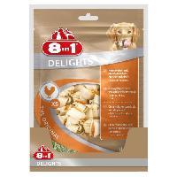 Friandise 8in1 Delights XS Os de boeuf a macher pour chien de petite taille - Longue duree - sans cereales colorant arome artificiel - 21 pcs