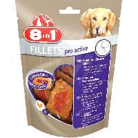 Friandise 8in1 Filets de poulet séchés Pro Active enrichis en chondroitine et de la glucosamine - Taille S - Pour chien - Carton de 8 sachets