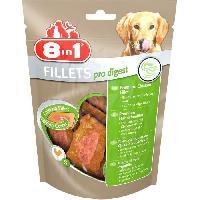 Friandise 8in1 Filets de poulet séchés Pro Digest enrichis en poudre de racine de chicorée - Taille S - Pour Chien - Carton de 8 sachets