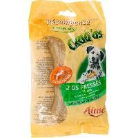 Friandise AIME Sachet de 2 Os presse 11cm - 100 peau de buffle 105 g - Pour chien