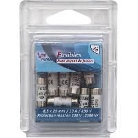 Fusible Pack 10 Fusibles avec voyant de fusion 8.5 x 23 mm - 10 A - 230 V