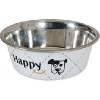 Gamelle - Ecuelle - Accessoire Ecuelle en inox Happy - D 25 cm - Blanc - Pour chien