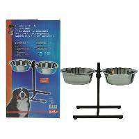 Gamelle - Ecuelle - Accessoire NOBBY 2 mangeoires inox avec support reglable 27cm - 4L - Pour chien