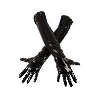 Gants Gants en vinyl brillant extensible - Taille XL - Noir