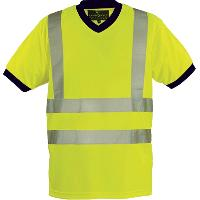 Gilets et Securite T-shirt MC col V jaune fluorescent L