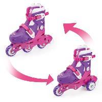 Glisse Urbaine FUNBEE Rollers inline 2 en 1 (3 roues) coloris rose pour enfant