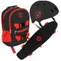Glisse Urbaine FUNBEE Skate 22 avec sac a dos + casque bol noir et rouge