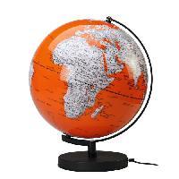 Globe Terrestre Globe politique lumineux Deco D30 cm - Corail et blanc