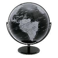 Globe Terrestre Globe politique non lumineux D30 cm - Cartographie fond noir et pays argente