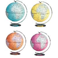 Globe Terrestre Mini globe lumineux suspendu Deco D13 cm - 4 coloris assortis