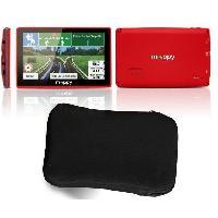 Gps MAPPY ITI E-438 GPS Slim Rouge avec Housse Carte a Vie Integree