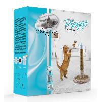 Griffoir - Grattoir - Tour - Poteau - Tronc Poteau griffoir rotatif en carton Playgo - 1 plateau -1 poteau - 1 pompon sur axe rotatif - 37 x 58 cm - Pour chat