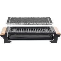 Grill Electrique H.KoeNIG - RP320 - Grill 2 en 1 - Fonction pierre a cuire et fonction grill - 37 x 23 cm - Poignees en bois - 1300 W