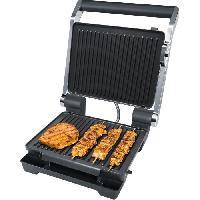 Grill Electrique STEBA 184100 FG100 Grill de contact electronique - 2000 W - Surface de cuisson antiadhesive- 2 x 29 x 23 cm - Inox et noir