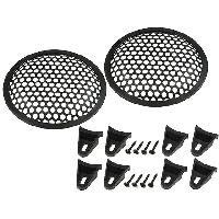 Grilles HP & Subs Grilles de haut-parleur 6.5p Noir Perforation en rond - ADNAuto