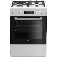 Gros Appareils De Cuisson BEKO - FSE63410GWP - Cuisiniere Mixte - 4 foyers : 3 Gaz + 1 Electrique -  Pyrolyse - A - 66 L - L60cm x H85cm - Blanc