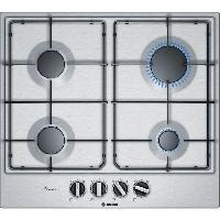 Gros Appareils De Cuisson BOSCH PCP6A5B80 Table de cuisson gaz - 4 foyers - 7500 W - L 58.2 x P 52 cm - Revetement acier inox - Inox