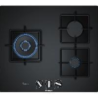 Gros Appareils De Cuisson BOSCH PPC6A6B10 Table de cuisson gaz - 3 foyers - 8000 W - L 59 x P 52 cm - Revetement verre - Noir