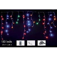 Guirlande De Noel CHRISTMAS DREAM Guirlande stalactite 180 LED multicolore - 3.50 x 0.56 m - 24 V - 8 jeux de lumiere - Contrôleur de mémoire