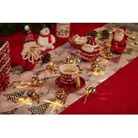 Guirlande De Noel Guirlande de Noël 10 LED en métal avec grelots blanc chaud - L 40 cm - Argent ou or - Generique
