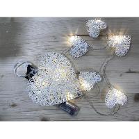 Guirlande De Noel Suspension de Noël lumineuse Coeur en rotin Blanc 20 cm - Christmas Dream