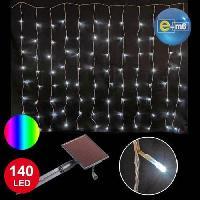 Guirlande Electrique Lumineuse D Exterieur CODICO Rideau lumineux solaire- 140 LED - 2 x 1 m - Multicolore