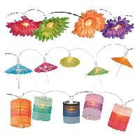 Guirlande Electrique Lumineuse D Exterieur Guirlande de 10 lampes sur chaine lumineuse exterieur - 1.5m - Fleur parasol et cylindre