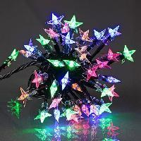 Guirlande Electrique Lumineuse D Exterieur Guirlande etoile souple - 60 LED multicolore - IP44 - 31V - 8 fonctions avec memoire - 5 m - Fil transparent Codico