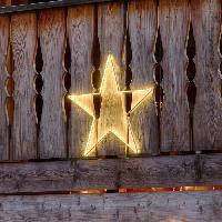 Guirlande Electrique Lumineuse D Exterieur LOTTI Decoration etoile 64 cm - 150 Strip LED - Lumiere fixe blanc chaud - Transformateur 12 V