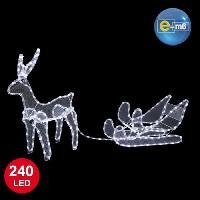 Guirlande Electrique Lumineuse D Exterieur Renne avec traineau - 240 LED blanc - IP44 - 230V - Couleur fixe - Renne - 44 x 58 cm. traineau 50 x 30 cm Generique