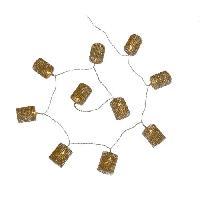 Guirlande Electrique Lumineuse Interieure Guirlande de Noel en tubes diamants or - 10 LED blanc fixe - Fil transparent - Piles - Codico