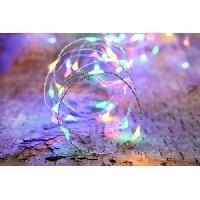 Guirlande Electrique Lumineuse Interieure Guirlande micro-LED - 4 m - Multicolore - 80 LED - 16 fonctions memoire - Cable argent transparent
